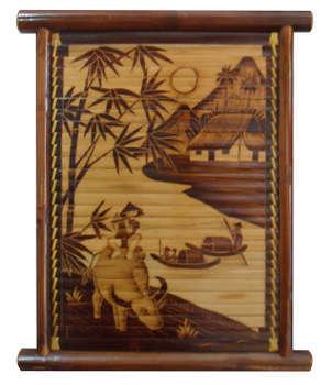 Tranh cưỡi trâu thổi sáo bên sông, được làm từ tre hun khói