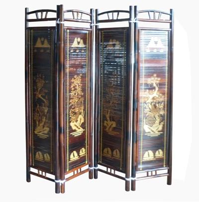 Bình phong vàng ngà - được làm từ tre hun khói